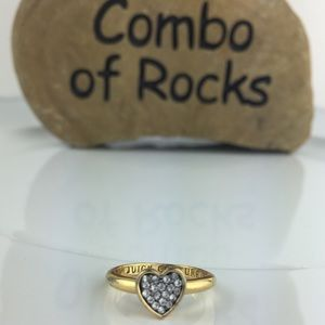 Juicy Couture Rhinestone Heart Gold Toned Ring
